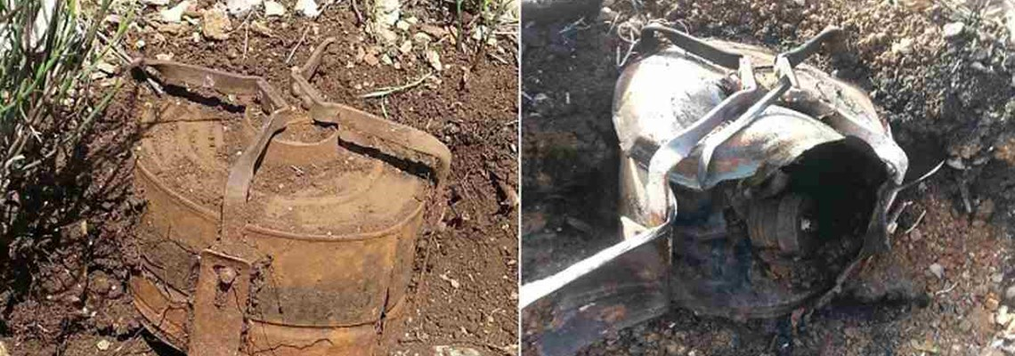 British-made MkV anti-tank mine before and after burning by pyrotechnic flare, HALO Trust.