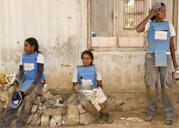 Female deminers taking a break during demining operations in Sri Lanka, HALO Trust