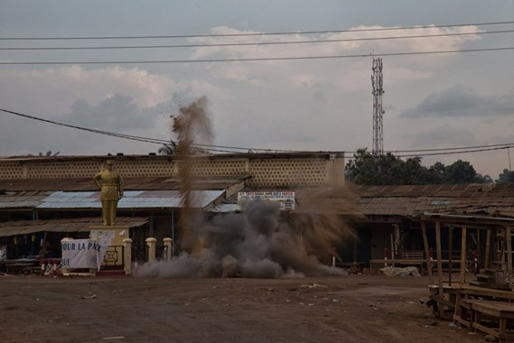 The destruction of the grenade in the market, Bangui (courtesy of MINUSCA)