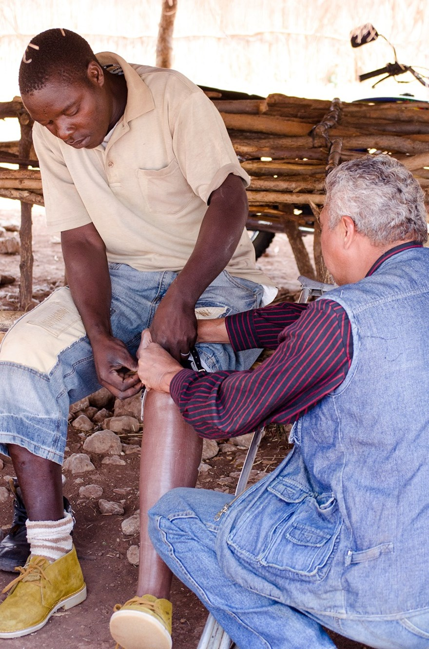 Cassim's Prosthetics helps fit a landmine survivor with a new prosthetic leg, HALO TRust