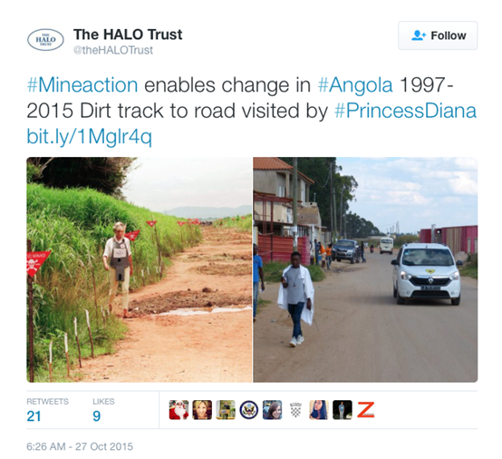 Tweet showing track in Angola before and after mine clearance