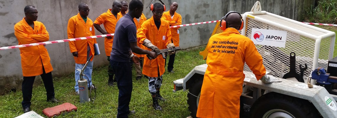 Weapons cutting in Ivory Coast, HALO Trust.