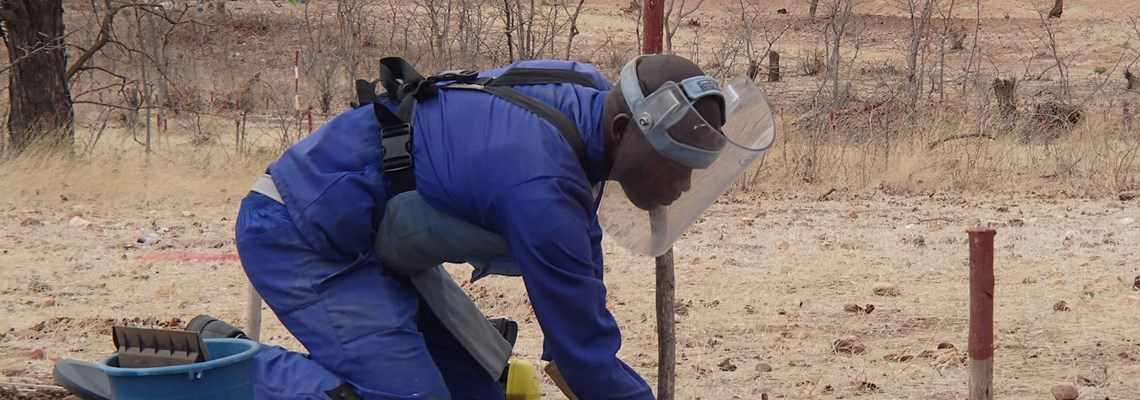 HALO deminer at work in Zimbabwe