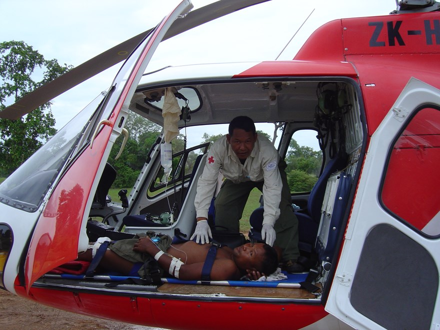Casualty evacuation training by helicopter Cambodia