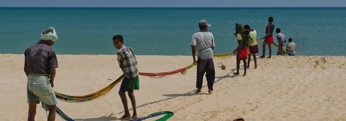 Chundikulam Fishermen using the beach cleared by HALO.