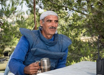 Male deminer, West Bank, HALO Trust.