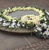 Wreath and roses at Westminster Abbey, Humanitarian Memorial, HALO Trust.