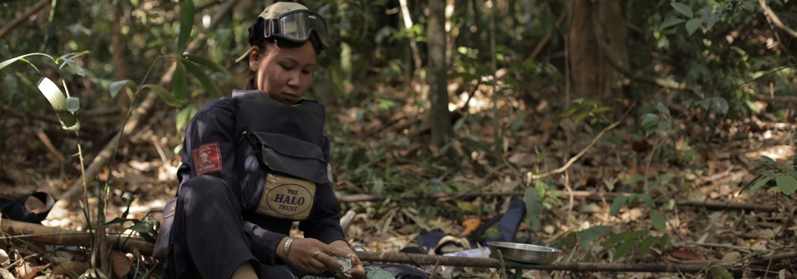 A deminer working in Laos, HALO Trust