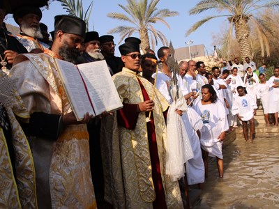 Church service by the River Jordan,