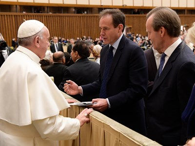 James Cowan and Tim Church meet the Pope.