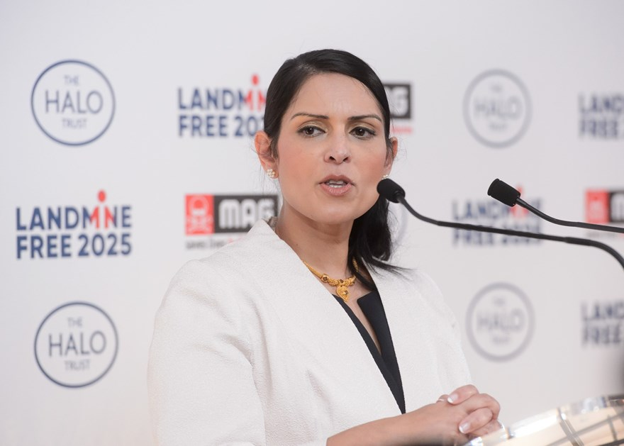 Rt Hon Priti Patel MP speaking at Kensington Palace, Landmine Free 2025