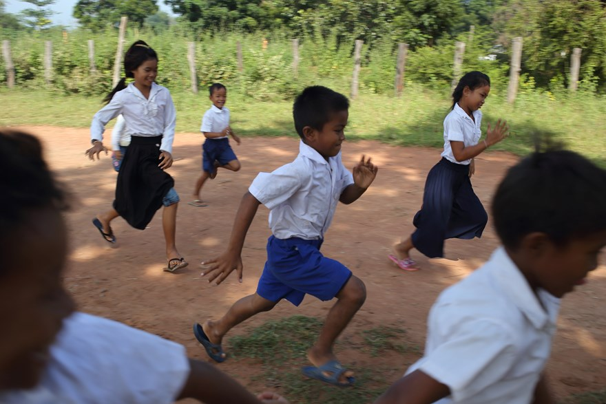 Child beneficiaries playing at school in Cambodia