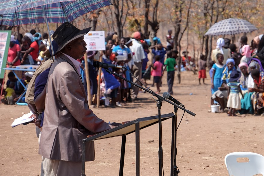Chief Chiswiti speaks at the handover ceremony on behalf of the local community.