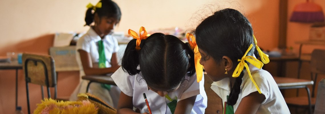 Children attend school thanks to mine clearance by The HALO Trust in Muhamalai, Sri Lanka