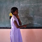 School girl attends newly built school on land in Muhamalai, Sri Lanka, cleared of mines by The HALO Trust.
