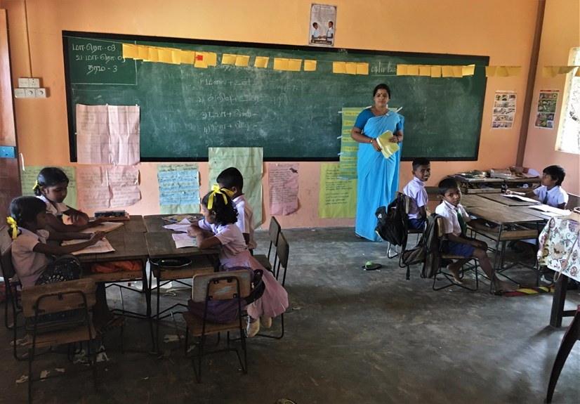 Children attend school on land cleared of mines by The HALO Trust, Sri Lanka.