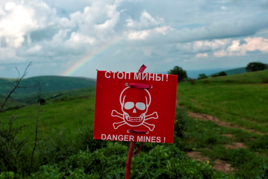 A rainbow appears over a minefield near Martakert. HALO has now cleared 90% of Karabakh's minefields—the end is in sight.