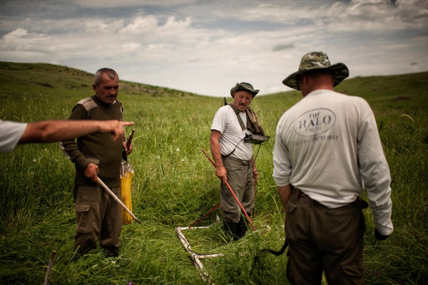 HALO deminers conduct anti-tank mine clearance near Govshatly village. Anti-tank mines block valuable land in Nagorno Karabakh's lush valleys.