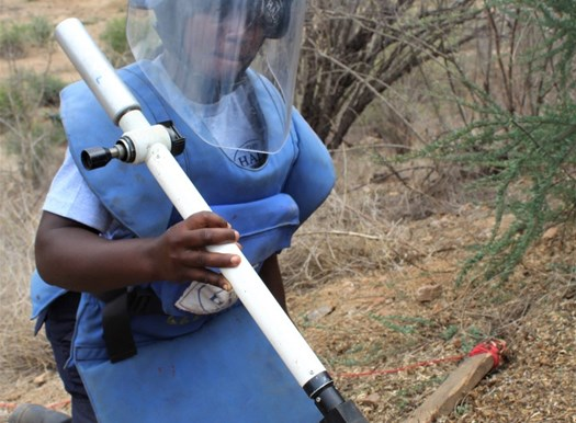 Manual deminer from HALO Angola's 100 Women in demining.