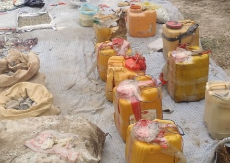 IED main charges packed into plastic containers, Afghanistan