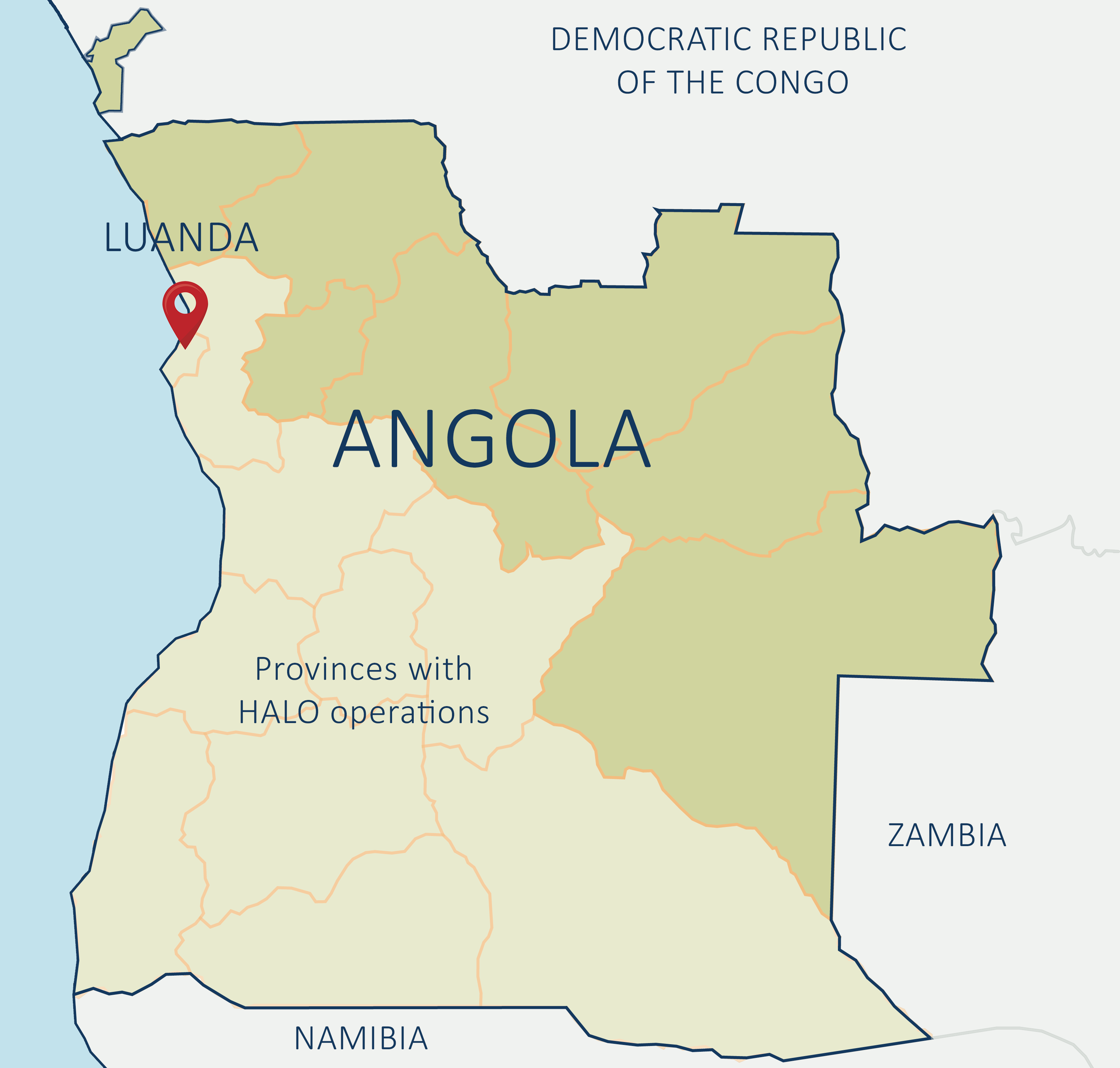 Angola On Africa Map.Our Work In Angola What We Do And Where The Halo Trust