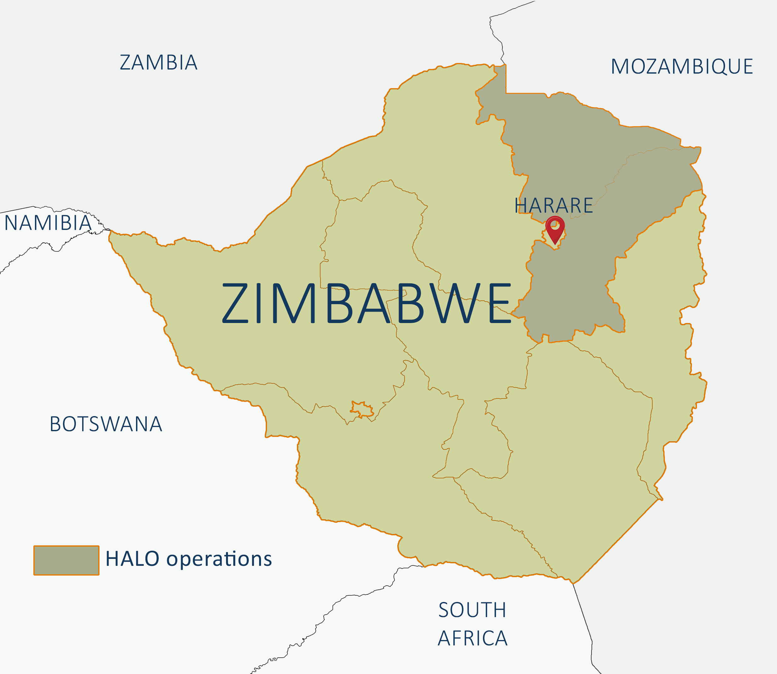 Map Of Africa Zimbabwe.Our Work In Zimbabwe What We Do And Where The Halo Trust