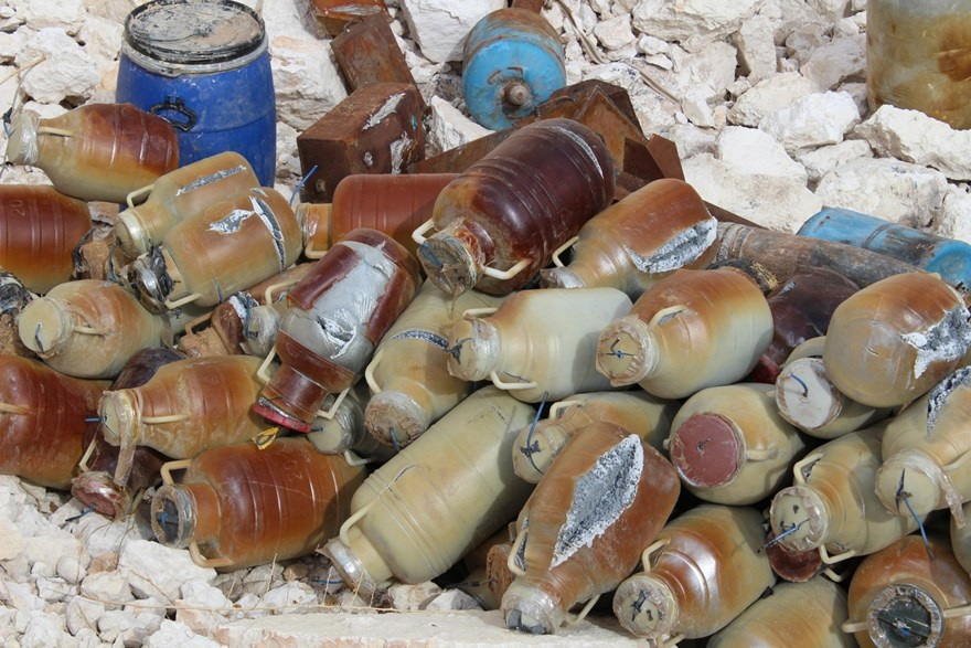 Plastic bottles filled with explosives, northern Syria.