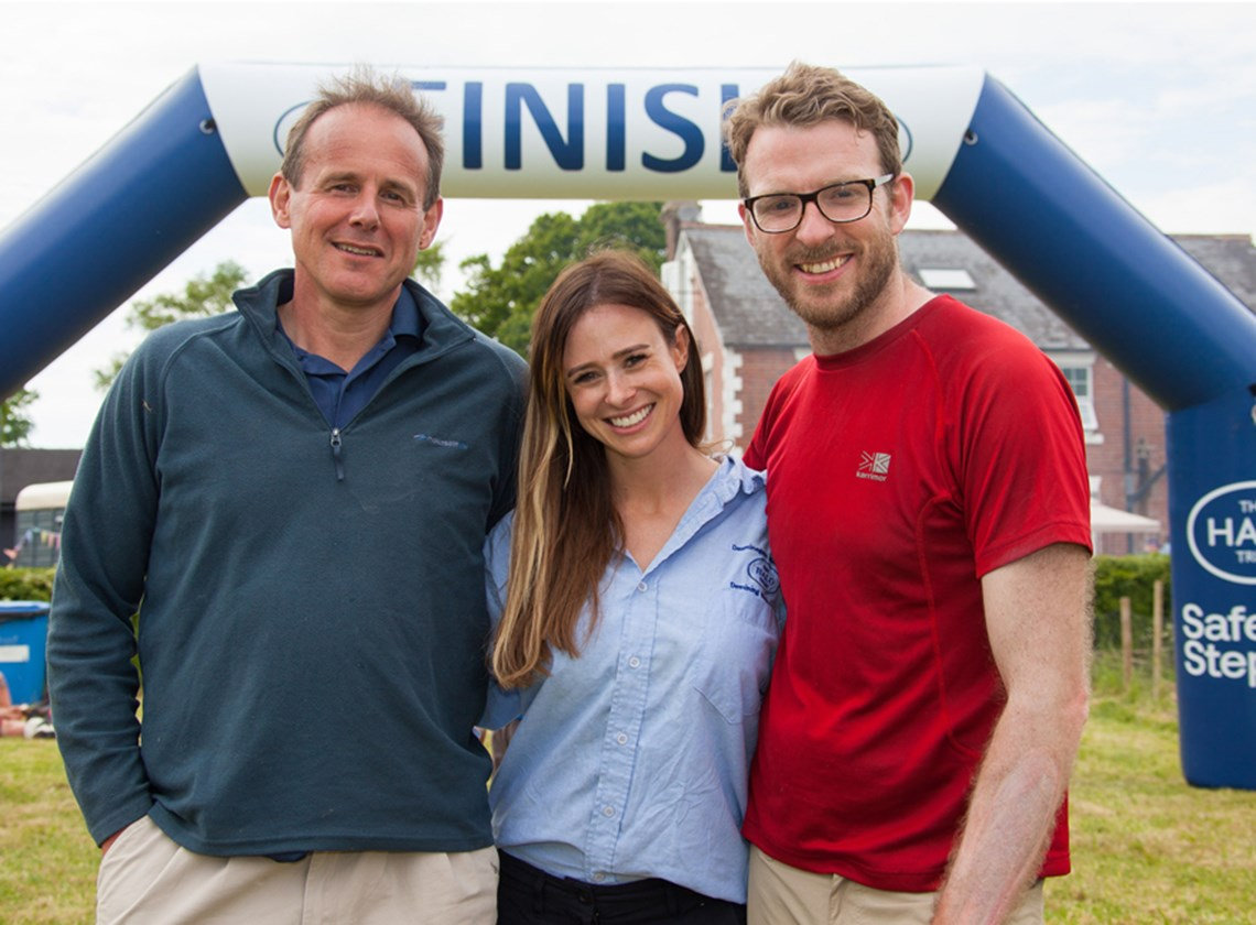 All smiles at the finish—HALO's CEO, James Cowan, with Camilla Thurlow and JJ Chalmers